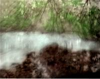 hand colored pond and trees photographic painting