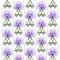 Purple Flowers Botanical Field Pattern