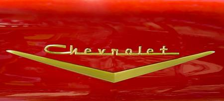 Chevrolet Emblem On Classic Red Chevy