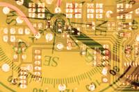 Circuit board abstract American technology concept