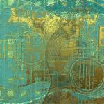 """Guitar Abstract Blue Green Gold Brown"" by artistfaye"