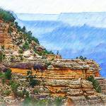 """Grand Canyon Overlook Sketched"" by Kirtdtisdale"