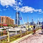 """Bicycling Along Liberty Landing Marina"" by susansartgallery"
