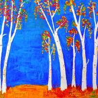 whimsical BirchTrees Art Prints & Posters by Haleh Mahbod
