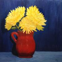 Yellow Mums Red Vase