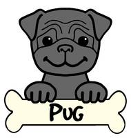 Black Pug Cartoon