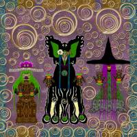 Lady Panda and friends gathering in the starry nig Art Prints & Posters by Pepita Selles