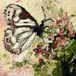 """White Butterfly on Flowers Vintage"" by GinetteCallaway"