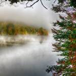"""Lake with Morning Fog During Fall"" by George_Oze"