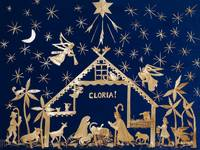 Straw Christmas Creche with Gloria on Blue Velvet