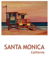 Santa Monica California Beach Scene Retro Poster