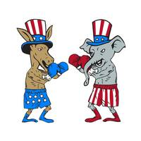 Democrat Donkey Boxer and Republican Elephant Masc