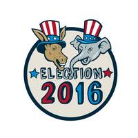 US Election 2016 Mascot Donkey Elephant Circle Car