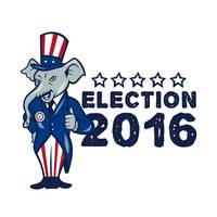 US Election 2016 Republican Mascot Thumbs Up Carto