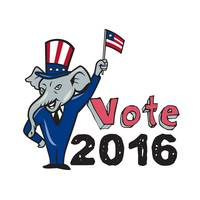 Vote 2016 Republican Mascot Waving Flag Cartoon
