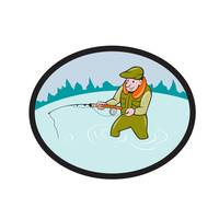 Fly Fisherman Casting Fly Rod Oval Cartoon