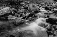 Boulder Creek Water Falling in Monochrome