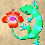 """Blue and Green Jungle Lizard with Red Hibiscus"" by ElainePlesser"