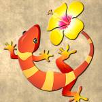 """Orange and Yellow Jungle Lizard with Yellow Hibisc"" by ElainePlesser"