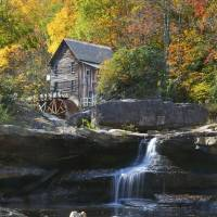 Glade Creek Grist Mill Fall by Roger Dullinger