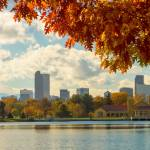 """Denver Skyline Fall Foliage View"" by lightningman"