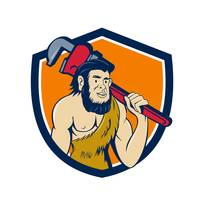 Neanderthal CaveMan Plumber Monkey Wrench Shield C