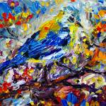 """Songbird Blue Impressionist Oil Painting"" by GinetteCallaway"