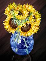 Sunflowers In The Blue Vase Still Life Painting