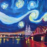 """Starry Night in Cologne - Van Gogh Feeling on Rive"" by arthop77"