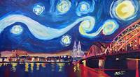 Starry Night in Cologne - Van Gogh Feeling on Rive