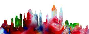 Decorative Skyline Abstract New York P1015D