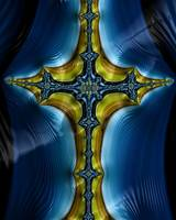 Cross on Blue