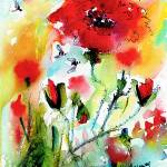 """Poppies Provence and Bees Watercolor"" by GinetteCallaway"