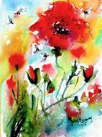 Poppies Provence and Bees Watercolor