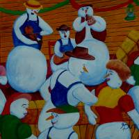 Barn Dancing Snowmen Art Prints & Posters by Anthony Dunphy
