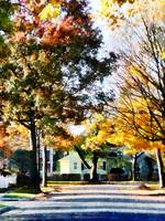 Autumn Street with Yellow House