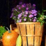 """Basket of Asters With Pumpkin and Gourd"" by susansartgallery"