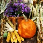 """Pumpkin Corn and Asters"" by susansartgallery"