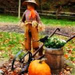 """Scarecrow and Pumpkin"" by susansartgallery"