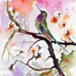 """Sweet Hummingbird and Pink Sky Watercolor Painting"" by GinetteCallaway"