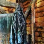 """Blue Plaid Jacket in Cabin"" by susansartgallery"
