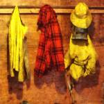 """Rain Gear and Red Plaid Jacket"" by susansartgallery"