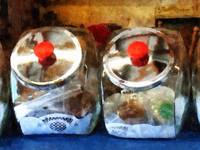 Two Glass Cookie Jars