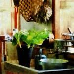 """Washing Garden Greens"" by susansartgallery"