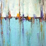 """""""""""Sailing""""  - Abstract White and Blue Painting – Te"""" by LizMoran"""