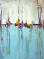 """Sailing""  - Abstract White and Blue Painting – Te"