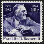 """Franklin D. Roosevelt Smiling in Car Stamp"" by WilshireImages"