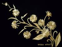 Straw Daisies on Black Velvet