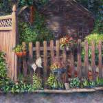"""Flowerpots Hanging on a Fence"" by susansartgallery"