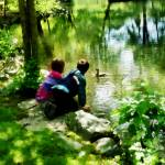 """Children and Ducks in Park"" by susansartgallery"